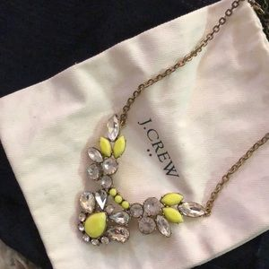 J. Crew Factory neon green jeweled necklace